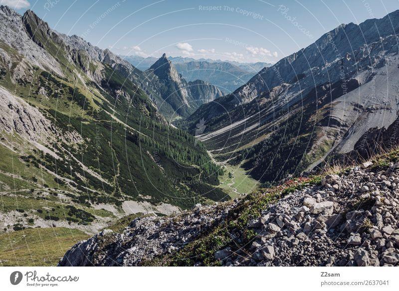 Abstieg nach Zams | Alpenüberquerung | E5 Abenteuer Berge u. Gebirge wandern Natur Landschaft Sommer Schönes Wetter Wald gigantisch hoch blau grün Einsamkeit