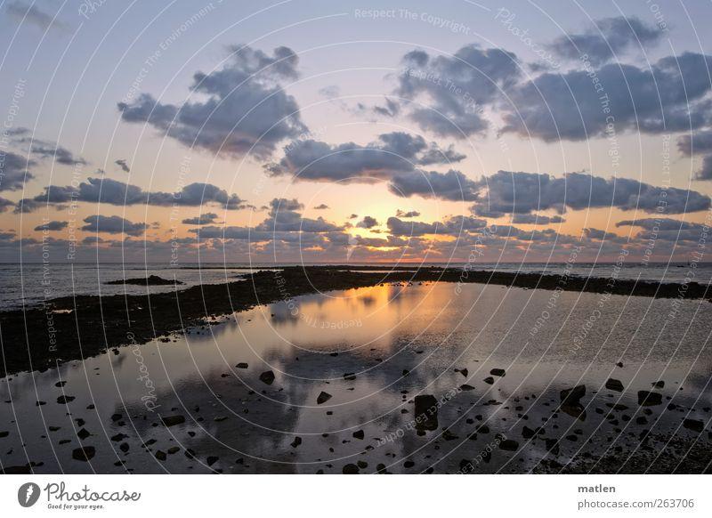 Aurora Landschaft Himmel Wolken Sonne Sonnenlicht Küste Meer blau gold rot ruhend Windstille Farbfoto Außenaufnahme Menschenleer Morgendämmerung Sonnenaufgang