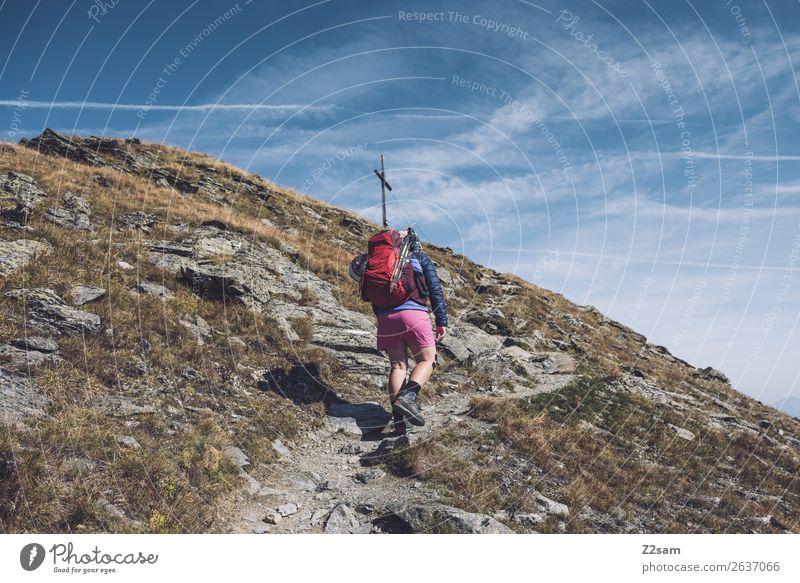 Aufstieg zum Gipfelkreuz | Venet E5 Natur Ferien & Urlaub & Reisen Jugendliche Junge Frau Landschaft Berge u. Gebirge 18-30 Jahre Erwachsene Ausflug