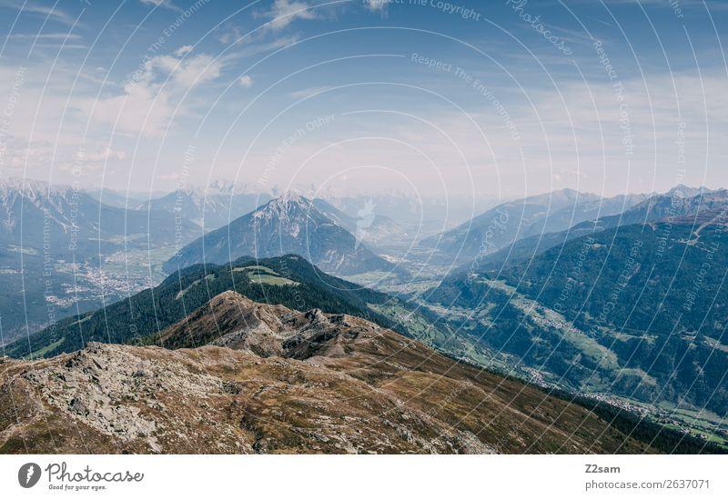 Blick vom Venetgipfel Richtung Inntal wandern Umwelt Natur Landschaft Himmel Sommer Schönes Wetter Alpen Berge u. Gebirge Gipfel gigantisch Unendlichkeit