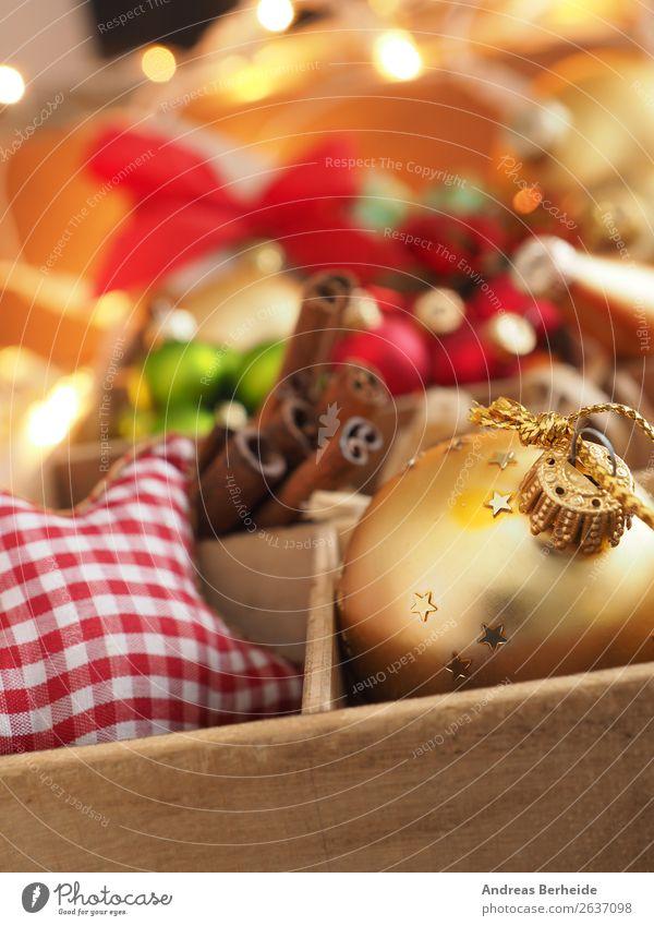 Buntes Allerlei Weihnachten Christbaumschmuck Zimtstangen Kräuter & Gewürze Stil Winter Dekoration & Verzierung Weihnachten & Advent Schleife Ornament retro