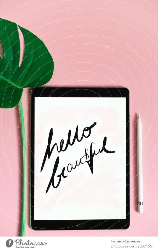 """Tablet with a handwritten """"hello beautiful"""" on pink background Technik & Technologie Unterhaltungselektronik Fortschritt Zukunft Zeichen Schriftzeichen"""