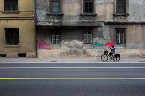 urbane Gegensätze Fahrradfahren feminin Frau Erwachsene 1 Mensch 45-60 Jahre Hauptstadt Altstadt Haus Bauwerk Fassade Fenster Verkehr Straßenverkehr Regenschirm