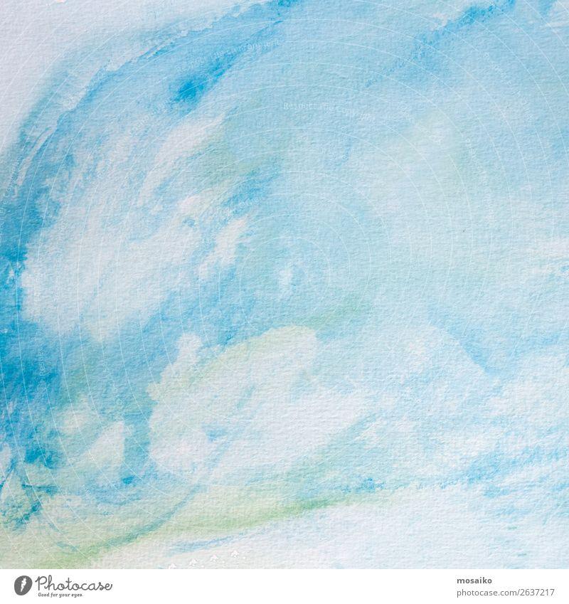 Aquarell auf Papier Kind blau Erholung ruhig Stil Kunst Schule Design Zufriedenheit Freizeit & Hobby hell Kreativität Lebensfreude malen Wohlgefühl