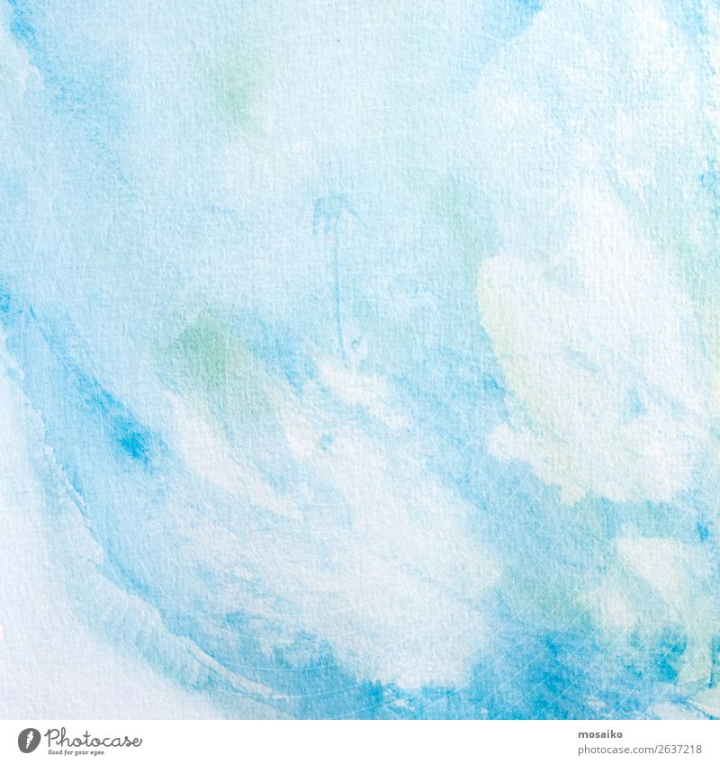 blaue Aquarelle auf Papier Kunst Gemälde Gefühle träumen Temperafarbe Bildung Intuition Kreativität Inspiration Kultur Oberfläche Konsistenz Hintergrundbild