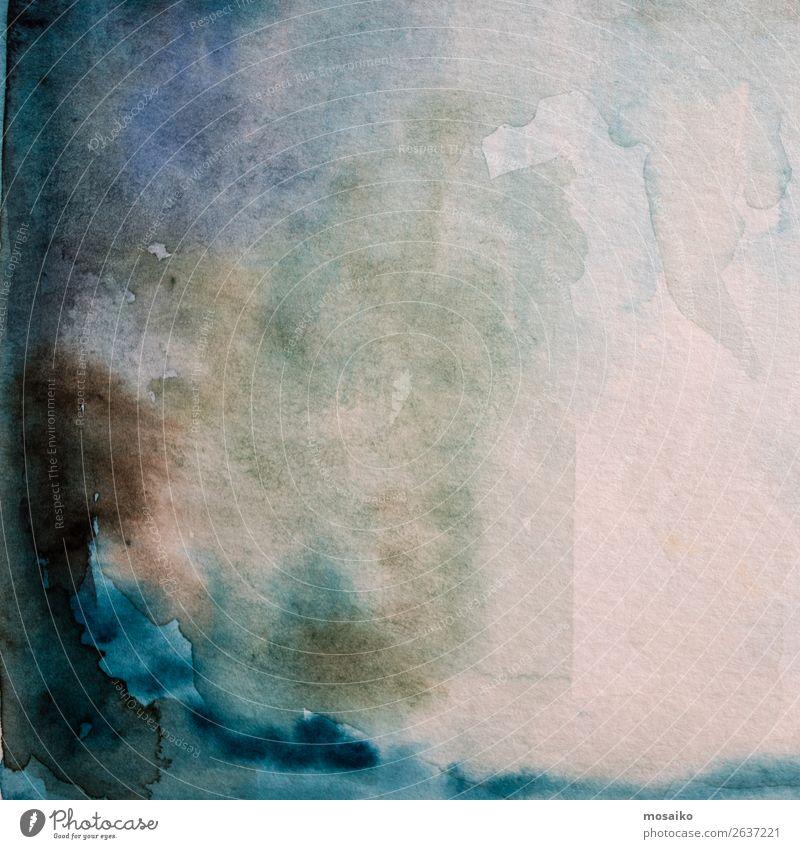 blaue Aquarelle auf Papier Kunst Gemälde Kultur Gefühle Leidenschaft Opferbereitschaft träumen Heimweh Einsamkeit verschwenden dunkel braun Traurigkeit Wasser