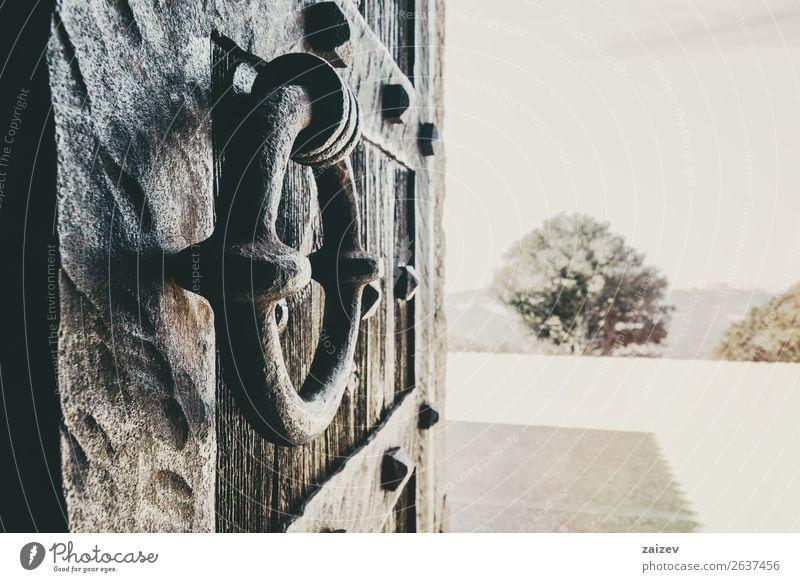 Nahaufnahme eines Schmiedeknaufs einer alten Holztür mit Perspektive Design Haus Platz Gebäude Architektur Ring Metall Rust braun Tradition Tür Knauf Türklopfer