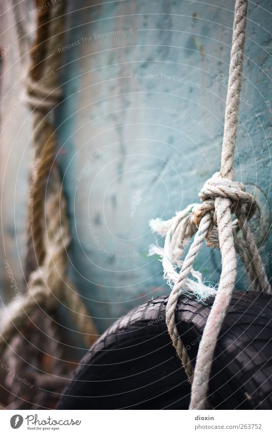 Bindung Fischerboot Wasserfahrzeug Seil alt hängen authentisch Verfall Vergangenheit Vergänglichkeit Knoten Reifen Reifenprofil Fender Schiffsrumpf ausgebleicht
