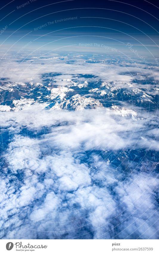Von oben Ferien & Urlaub & Reisen Abenteuer Ferne Freiheit Umwelt Natur Landschaft Urelemente Luft Himmel Wolken Klima Klimawandel Schönes Wetter Alpen