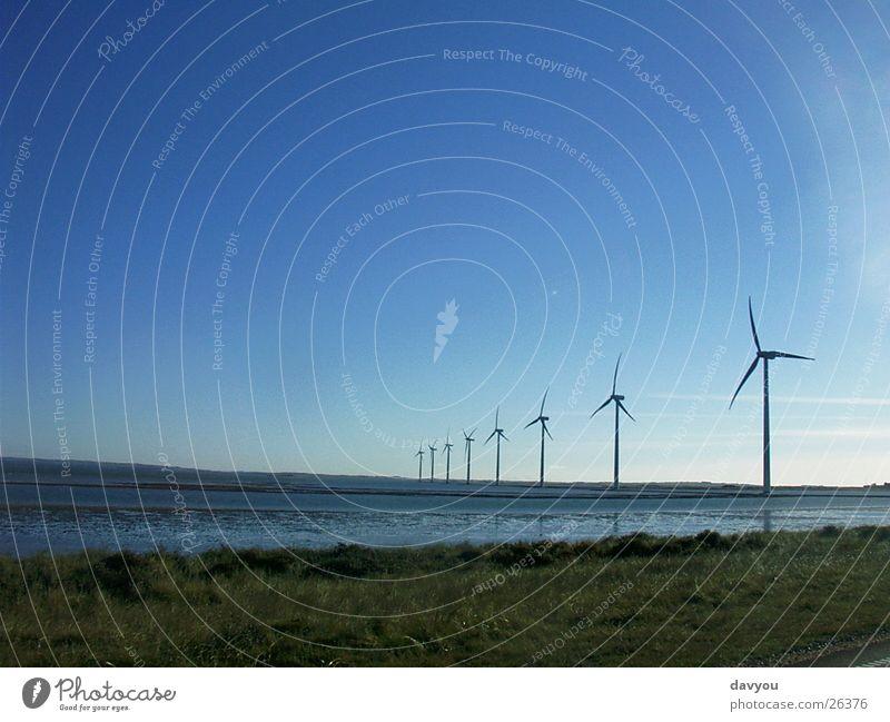 Windräder Himmel Natur Pflanze Wasser Sommer Landschaft Umwelt Küste Horizont Energiewirtschaft Kraft Wind Elektrizität Geschwindigkeit Technik & Technologie Zukunft