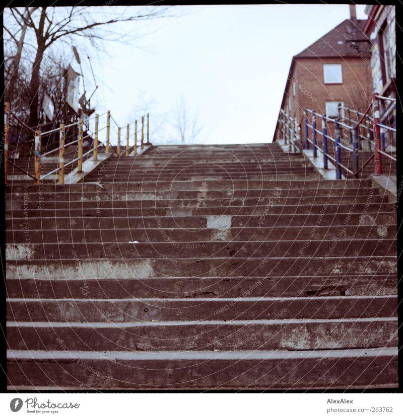 Abstieg / Aufstieg alt blau Baum Haus ruhig grau Wege & Pfade Metall Treppe Beton authentisch trist Treppengeländer aufwärts Wolkenloser Himmel Stadthaus