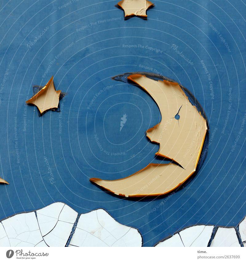 Der Mond im Mann Gesicht Kunst Kunstwerk Himmel Wolken Nachthimmel Stern Mauer Wand Kunststoff Zeichen Schilder & Markierungen Graffiti Linie Etikett