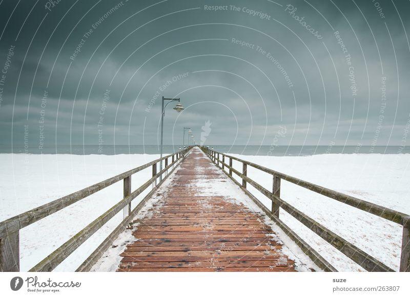 Seebrücke Natur Meer Einsamkeit Winter Landschaft Umwelt dunkel kalt Schnee Wege & Pfade Küste Holz grau Horizont Eis außergewöhnlich