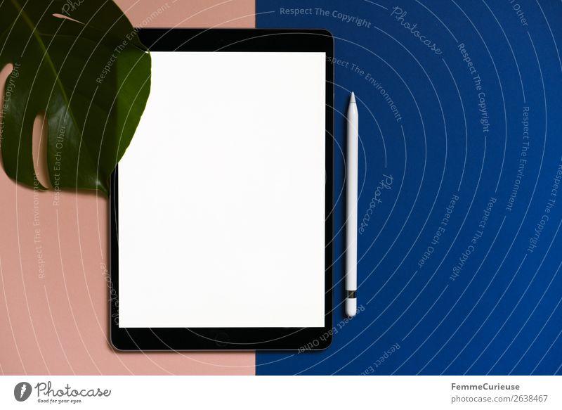 Tablet on salmon-colored and blue background Technik & Technologie Unterhaltungselektronik Fortschritt Zukunft Schreibwaren Papier Kommunizieren Kreativität