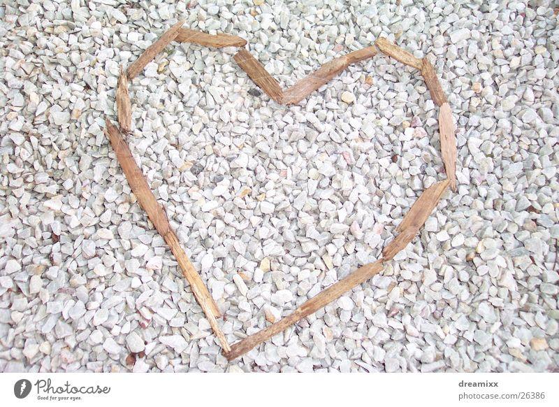 wood heart Liebe Holz Herz Ast Kies Splitter