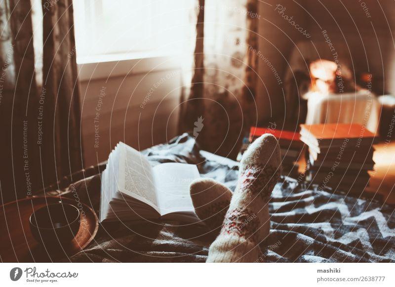 gemütlicher Wintertag zu Hause bei einer Tasse heißem Tee Lifestyle Erholung Freizeit & Hobby lesen Frau Erwachsene Fuß Buch Herbst Wärme Hütte Holz authentisch