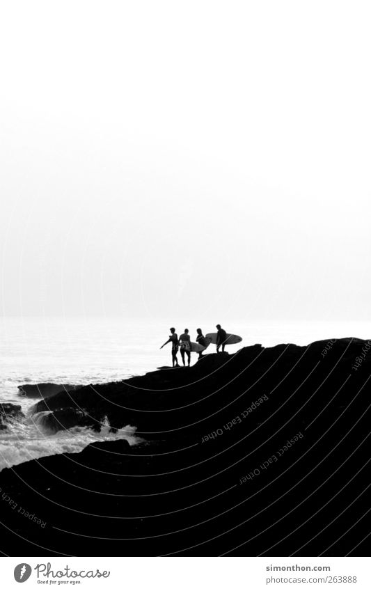 surfer Mensch Jugendliche Wasser Sommer Meer Sport Küste Menschengruppe Horizont Wellen Freizeit & Hobby Surfen Surfer Surfbrett Felsküste