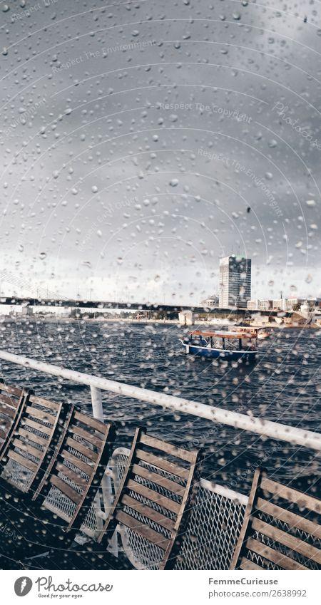 View from the inside of a boat to window with raindrops Verkehr Verkehrsmittel Verkehrswege Personenverkehr Schifffahrt Bootsfahrt Passagierschiff Dampfschiff