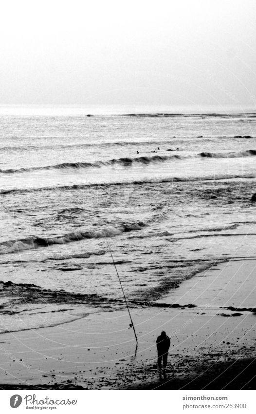 angler Mensch Mann Meer Einsamkeit Küste Fisch Unendlichkeit Angeln geduldig Angelrute Fischer Angelköder Hochseefischer