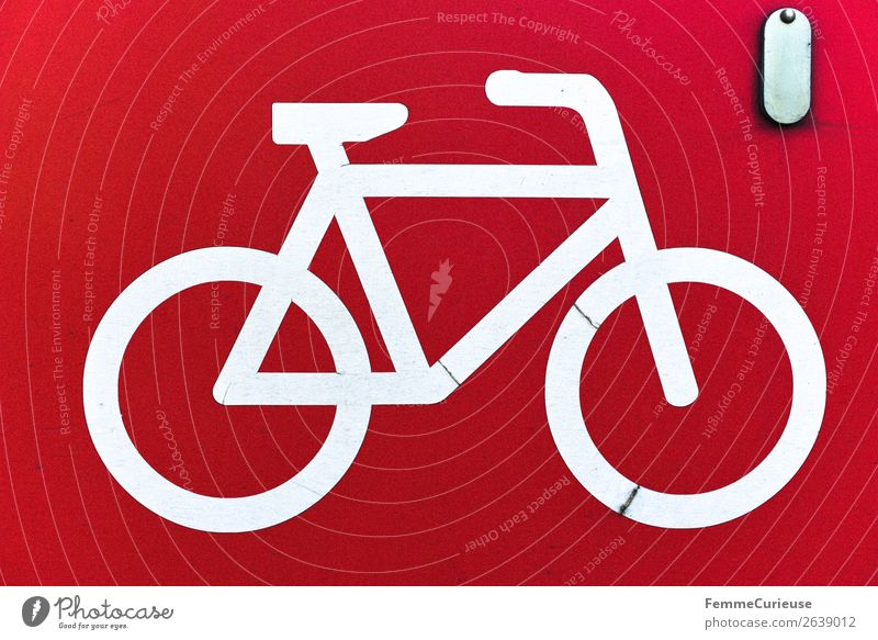 White bicycle symbol on red background Zeichen Schilder & Markierungen Hinweisschild Warnschild Bewegung Fahrrad Fahrradfahren Fahrradtour Symbole & Metaphern