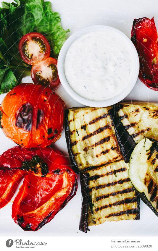 Delicious grilled vegetables on a white plate weiß Gesundheit Lebensmittel Ernährung Gemüse Bioprodukte mediterran Vegetarische Ernährung Diät Grillen Teller