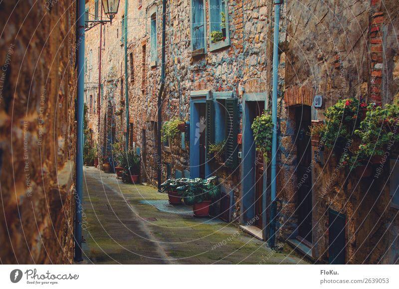 Schmale Gasse in der Toskana | 600 Ferien & Urlaub & Reisen Tourismus Canneto Italien Europa Dorf Stadtzentrum Altstadt Menschenleer Haus Bauwerk Gebäude