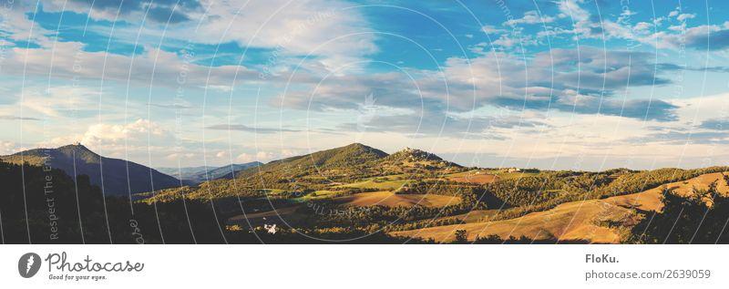 Toskanorama Ferien & Urlaub & Reisen Tourismus Ferne Freiheit Sommerurlaub Umwelt Natur Landschaft Himmel Wolken Sonne Sonnenaufgang Sonnenuntergang Sonnenlicht