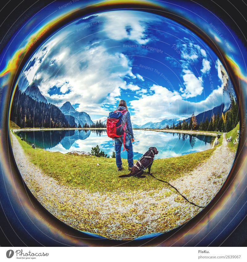 Wanderbuddys Mensch Himmel Ferien & Urlaub & Reisen Hund Jugendliche Junge Frau Sommer blau Landschaft Tier Ferne Berge u. Gebirge 18-30 Jahre Erwachsene