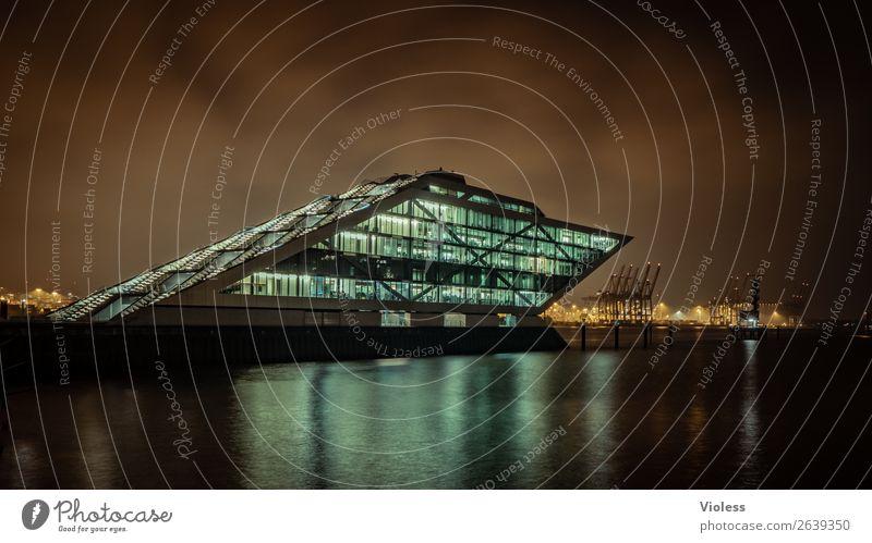 Dockland VII Hafenstadt Bauwerk Gebäude Architektur Treppe Terrasse Sehenswürdigkeit Wahrzeichen ästhetisch außergewöhnlich dunkel skurril Nacht