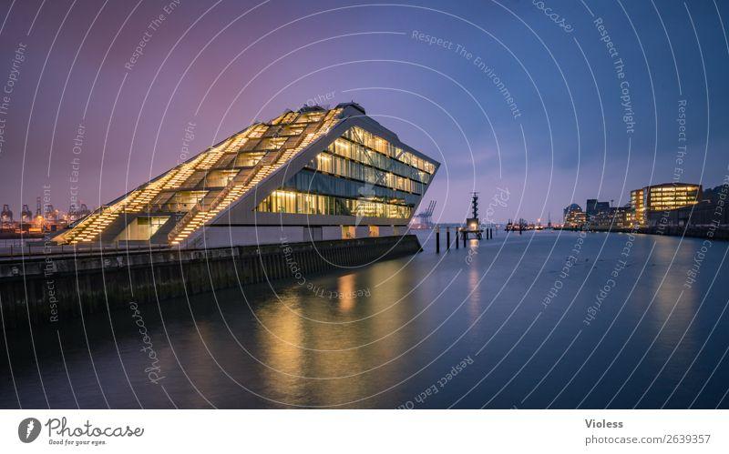 Dockland II Hafenstadt Bauwerk Gebäude Architektur Treppe Terrasse Sehenswürdigkeit Wahrzeichen ästhetisch außergewöhnlich dunkel skurril Nacht