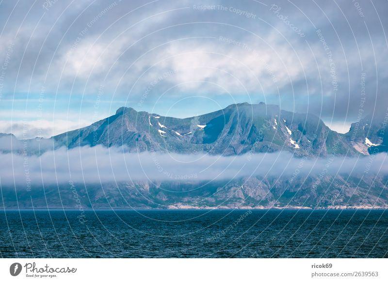 Küste auf den Lofoten in Norwegen Erholung Ferien & Urlaub & Reisen Tourismus Sommer Meer Berge u. Gebirge Umwelt Natur Landschaft Wasser Wolken Klima Wetter