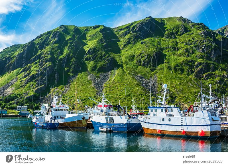 Fischerboote auf den Lofoten in Norwegen Ferien & Urlaub & Reisen Natur Sommer blau grün Wasser Landschaft Meer Erholung Wolken Berge u. Gebirge Umwelt