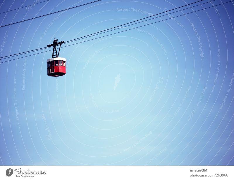 hoch hinaus. ästhetisch Gondellift Himmel (Jenseits) Blauer Himmel oben rot blau Stahlkabel aufwärts fahren Verkehrsmittel Farbfoto Außenaufnahme Detailaufnahme