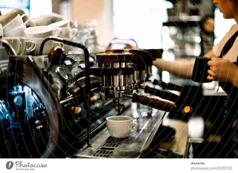 Morgenkaffee 3 Getränk Heißgetränk Kakao Kaffee Espresso Becher Kaffeemaschine Café Kantine Milchkaffee Lifestyle elegant Stil Freude Leben harmonisch