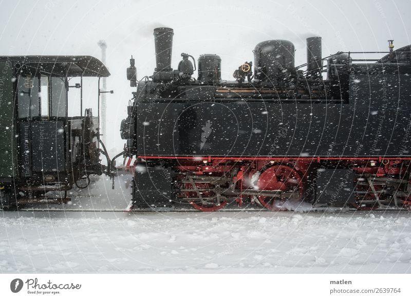 alte Dampflok im Schnee weiß rot schwarz Verkehr authentisch Eisenbahn fahren Gleise Verkehrswege Personenverkehr Verkehrsmittel Wasserdampf Lokomotive
