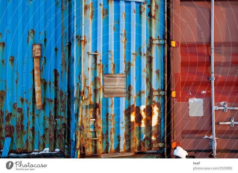 Zusammenfassung der Transportbehälter Stil Design Industrie Container Stahl Rost alt dreckig blau rot Konsistenz Metall Rust Spedition Element verwittert