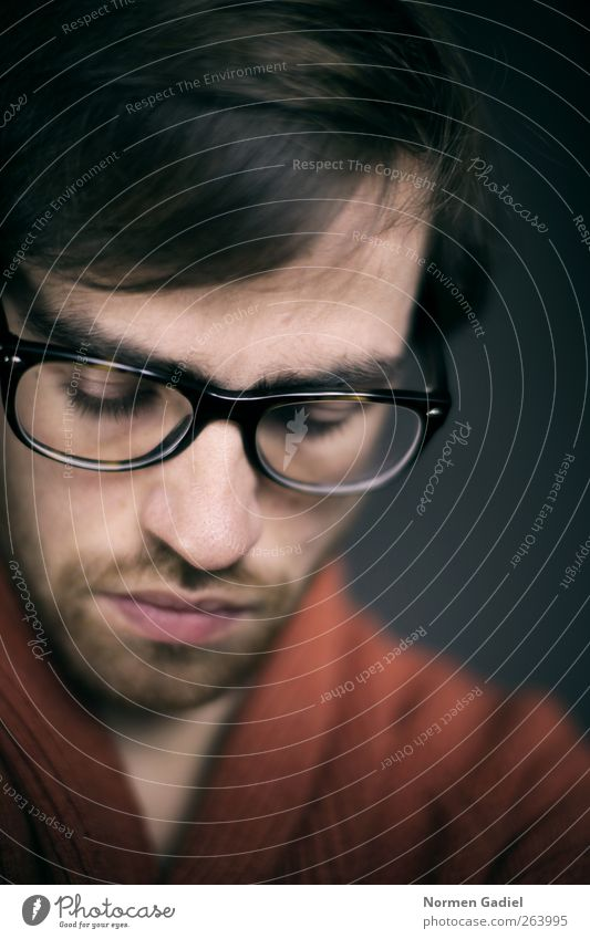Brille Stil schön maskulin Junger Mann Jugendliche Erwachsene Auge Lippen 1 Mensch 18-30 Jahre schwarzhaarig Vollbart modern braun Stimmung nachdenklich Gedanke