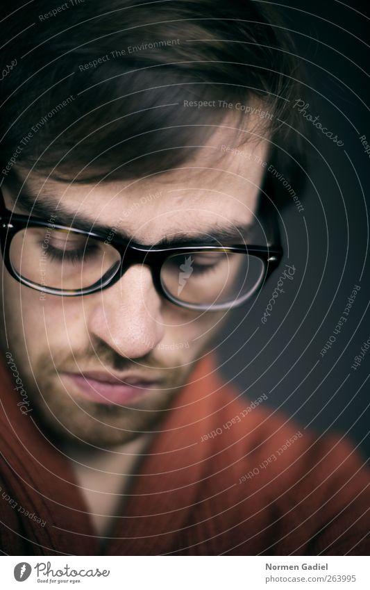 Mensch Mann Jugendliche schön Erwachsene Auge Stil Stimmung braun maskulin Nase modern 18-30 Jahre Brille Lippen Junger Mann