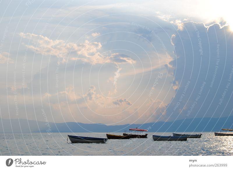 Ohrid Landschaft Himmel Wolken Gewitterwolken Sonne Sonnenaufgang Sonnenuntergang Sonnenlicht Sommer Wetter schlechtes Wetter Unwetter Sturm Küste Seeufer Meer