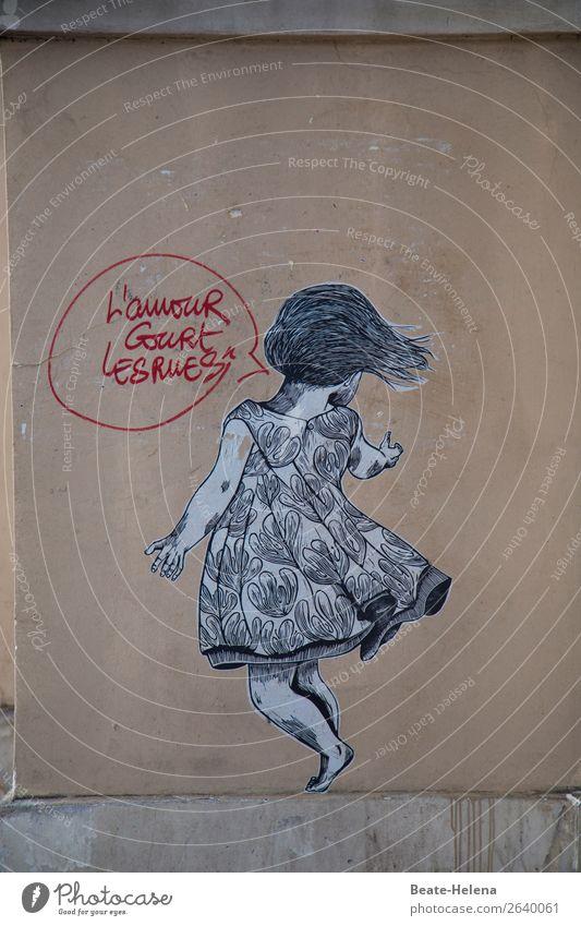 """""""Die Liebe in den Straßen"""": tanzendes Mädchen Häusliches Leben Kunst Paris Gebäude Mauer Wand Kleid Haare & Frisuren Beton beobachten Kommunizieren"""