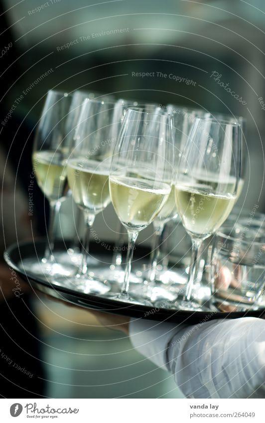 Sektchen? Slowfood Getränk Prosecco Champagner Tablett Glas Sektglas Lifestyle Reichtum elegant Alkohol Nachtleben Restaurant Bar Cocktailbar Lounge ausgehen