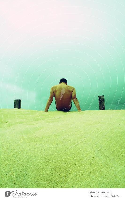 mann am meer2 Mensch Meer Sommer Strand Sand Gesundheit Rücken ästhetisch Beautyfotografie Düne Sommerurlaub Muskulatur Körper