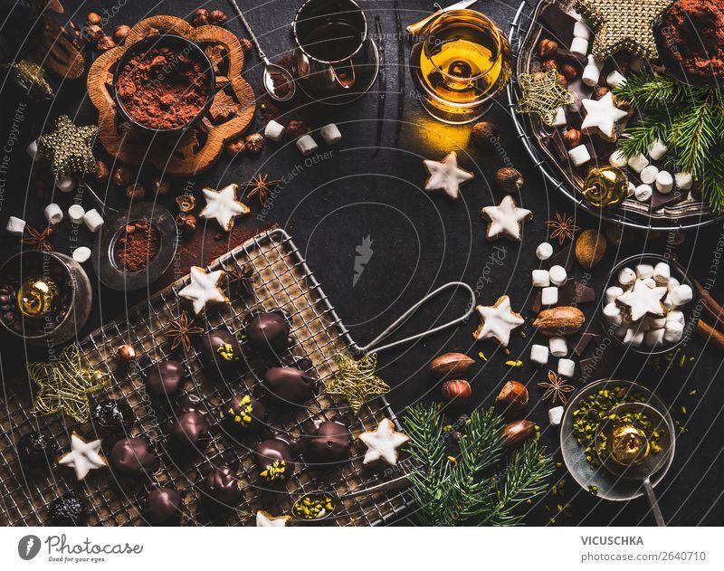 Süßes für Weihnachten und Advents Lebensmittel Teigwaren Backwaren Süßwaren Schokolade Ernährung Getränk Kakao Spirituosen Geschirr kaufen Stil Design Winter