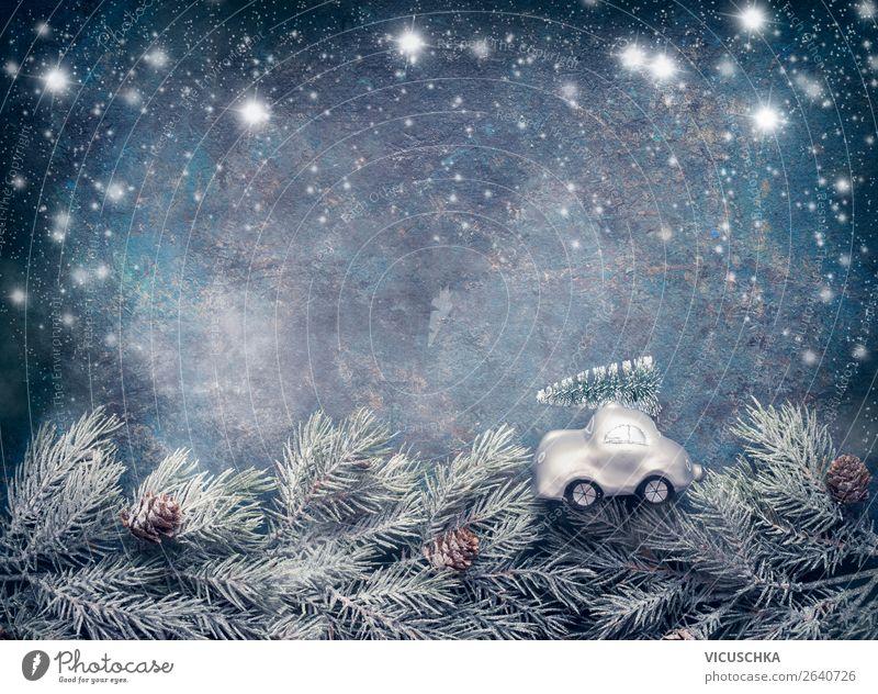 Weihnachtsbaum auf Spielzeugauto fährt auf Tannenzweige Stil Design Winter Feste & Feiern Weihnachten & Advent Natur Sturm Schnee Dekoration & Verzierung