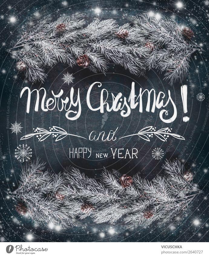 Merry Christmas and Happy New Year , Weihnachtskarte Natur Weihnachten & Advent Winter Schnee Stil Stimmung Design Dekoration & Verzierung retro