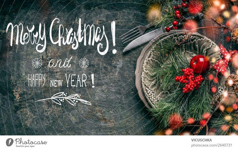 Merry Christmas Weihnachtskarte Festessen Geschirr Teller Besteck kaufen Stil Design Winter Dekoration & Verzierung Party Veranstaltung Feste & Feiern