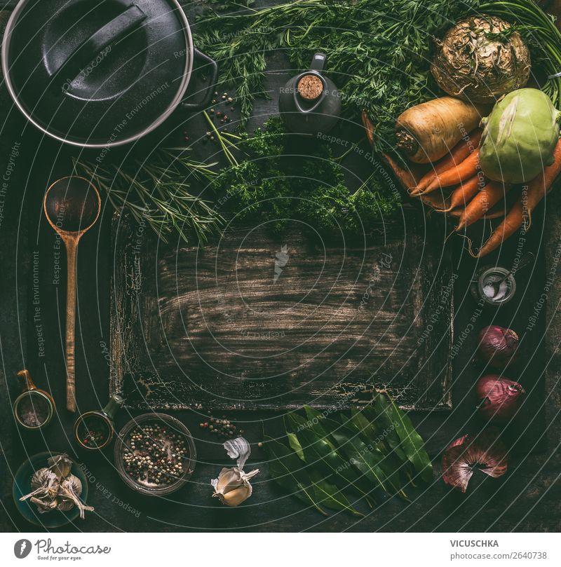 Rustikal Hintergrund mit Topf und Gemüse Lebensmittel Suppe Eintopf Ernährung Bioprodukte Vegetarische Ernährung Diät Geschirr Design Gesunde Ernährung Tisch