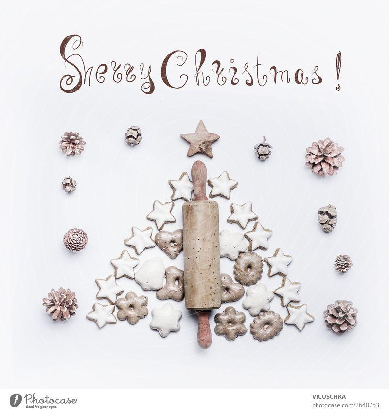 Weihnachtskarte mit Teigrolle und Lebkuchen Stil Design Freude Winter Feste & Feiern Weihnachten & Advent Dekoration & Verzierung Ornament Tradition