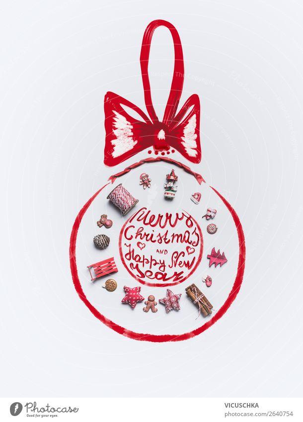 Weihnachtskugel auf weiß Süßwaren Stil Design Winter Dekoration & Verzierung Feste & Feiern Weihnachten & Advent Ornament Tradition Text Hintergrundbild