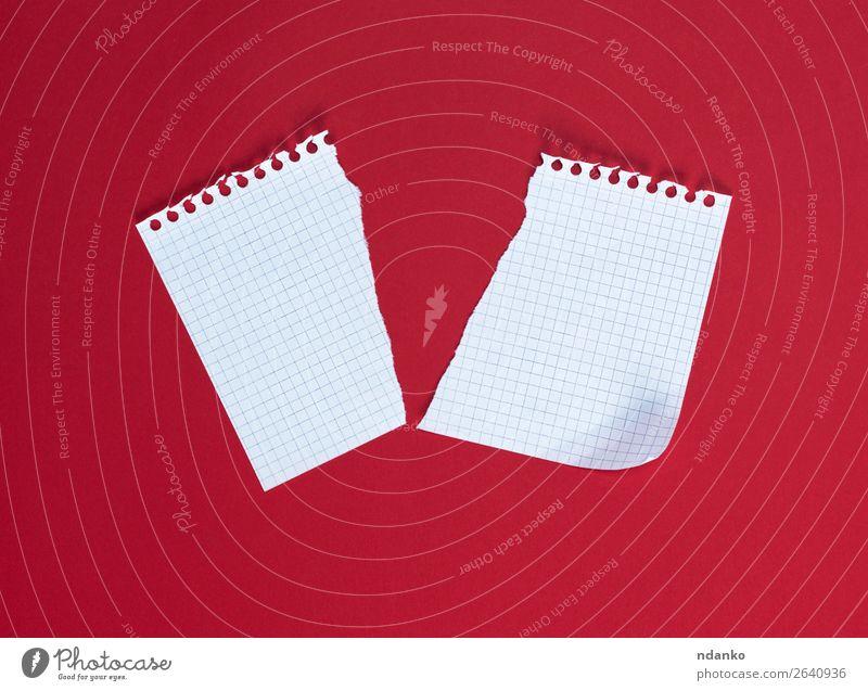 halb gerissenes weißes Blatt in einer Zelle Schule Büro Business Papier Zettel gebrauchen schreiben Sauberkeit rot Bildung Idee Schriftstück Unterlage Spirale